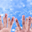 Social network concept of Happy group of finger faces with spee — Stock Photo #12305994