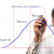 Business man drawing Business life cycle diagram — Stock Photo #12306618
