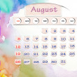 Calendar 2010, august on Water Color — Stock Photo