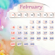 Calendar 2010, february on Water Color — Stock Photo