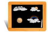 Black board Wooden frame with cppy space — Stock fotografie