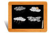 黑色的板子的木制框架以天气预测为教育 — 图库照片