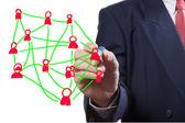 Człowiek biznesu rysunek sieć społeczną — Zdjęcie stockowe