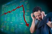 Business man stress about falling stock market — Stock Photo