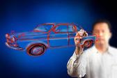 Men drawing a car — Stock Photo