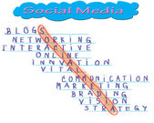 Business man select social media word, social network marketing — Stock Photo