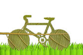 Pushbike from green leave, eco concept — Stockfoto