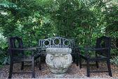 Cadeiras no jardim tropical de quintal — Foto Stock