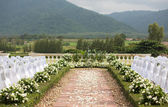 Tropical settings for a wedding on mountain — Stock Photo