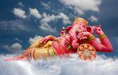Rosa Ganecha Statue in Entspannung am Wat Samarn, Chachoengsao, tha — Stockfoto