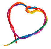 Isolated colorful heart rope — 图库照片