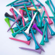 Stock Photo: Multiple color golf tees