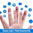 Social network concept of Happy group of finger faces with spee — Stock Photo #12329413