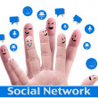 Stock Photo: Social network concept of Happy group of finger faces with spee