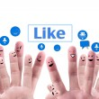 Social network concept of Happy group of finger faces with spee — Stock Photo #12329425