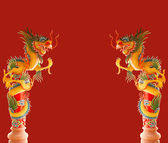 Two Beautiful Chinese dragons on red background — Stock Photo