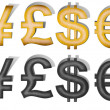 Vintage paper and Metal Dollar sign, Jena sign, Pound sign, Euro — Stock Photo