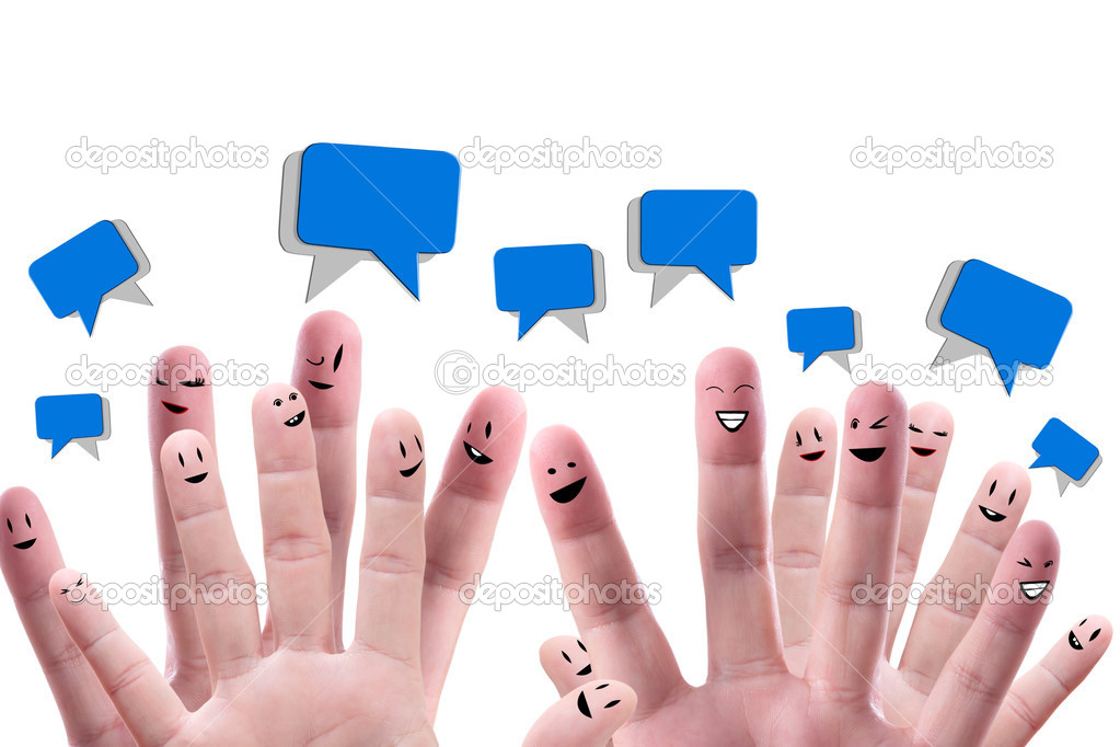 Social network concept of Happy group of finger faces  with speech bubbles  Stock Photo #12330823