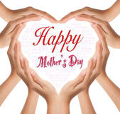 Hands make heart shape for happy mother day — Stock Photo