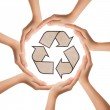 Hands making a circle with recycle sign — Stock Photo