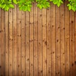 Old grunge wood texture with leaves - Stock Photo