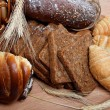 Large variety of bread, still life isolate on white background — Stock Photo #10796011