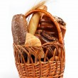 Large variety of bread, still life isolate on white background - Foto de Stock