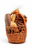 Large variety of bread, still life isolate on white background — Stock Photo