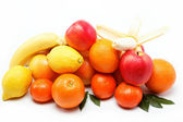 Fresh citrus fruits isolated on a white background. — Stock Photo