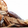 Large variety of bread, still life isolate on white background — Stock Photo #10976336
