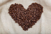 Heart of the coffee beans on sacking — Foto Stock