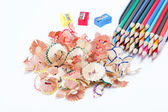 Color pencils isolated on white background — 图库照片