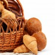 Large variety of bread, still life isolate on a wooden table ove — Stock Photo #11018269