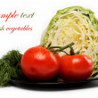Fresh vegetables. Tomatoes, cabbage, and dill on a white backgro — Stock Photo