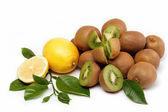 Fresh fruit. Kiwi and lemon isolated on a white background. — Stock Photo