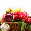 Healthy food. Fresh vegetables and fruits on a wooden board. — ストック写真
