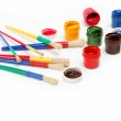 Brushes and paints isolated on a white background. — Stock Photo