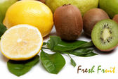 Fresh fruit. Kiwi and lemon isolated on a white background. — Stock Photo