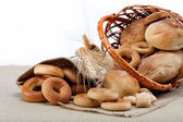 Fresh breads for a variety of sacking. — Stock Photo