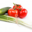 Stock Photo: Fresh green onions, cucumber and tomato isolated on white.