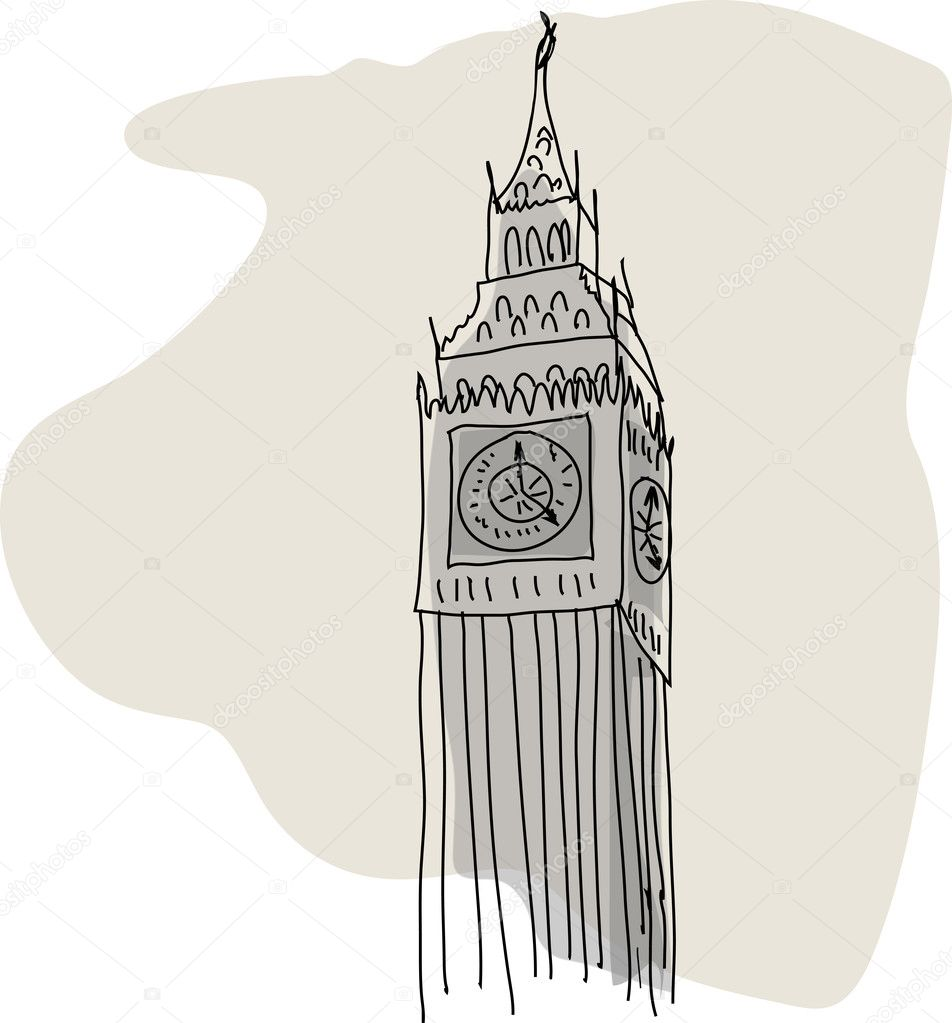 tower London England bell old gothic image sign symbol watch clock    London Clock Tower Drawing