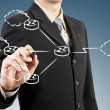 Business man draw network diagram — Stock Photo #10796654