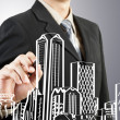 Business man draw building and cityscape — Stok fotoğraf