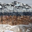 Stock Photo: Layer soil beneath asphalt cement concrete