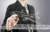 Business man draw train, plane transportation and cityscape — Stock Photo