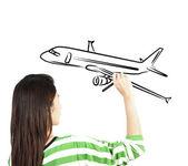 Woman draw plane transportation — Stock Photo