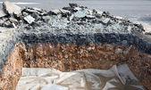 Layer soil beneath asphalt cement concrete — Stock Photo
