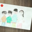 Drawing of family — Stock Photo