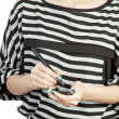 Women touching phone modern mobile and pen — Stock Photo #11234498