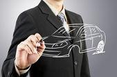 Człowiek biznesu wyciągnąć samochód transport — Zdjęcie stockowe